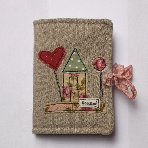 needlecase with machine embroidery