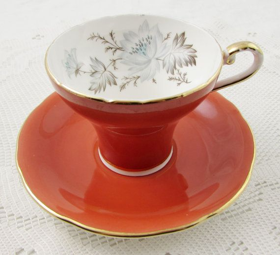 Aynsley Orange Tea Cup and Saucer, Corset Shape, Vintage Bone China