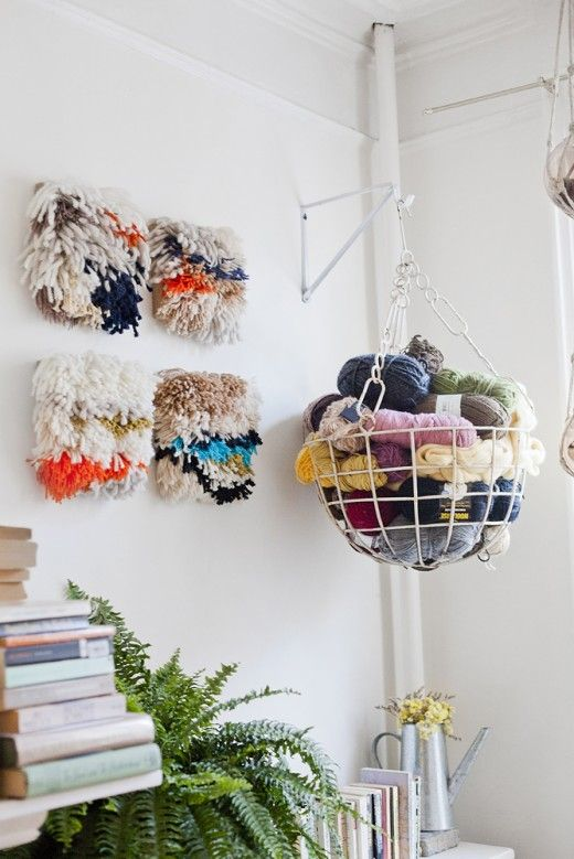 Store your favorite yarns (spot the Wool-Ease!) in a hanging basket to keep them close at hand.