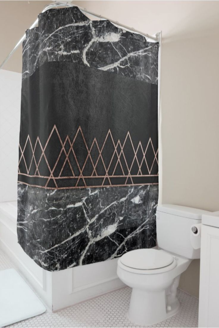 Elegant Rose Gold Triangles Black White Marble Shower Curtain Zazzle Com In 2020 White Marble Shower Black White Bathrooms White Marble