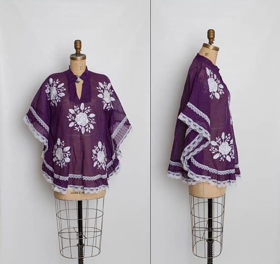 vintage 70s embroidered Mexican poncho  1970s purple top