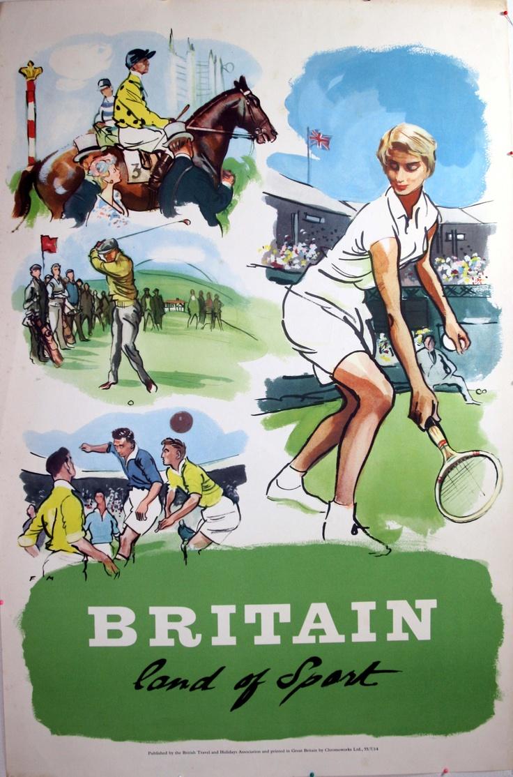Britain Land of Sport, 1955 - original vintage poster listed on AntikBar.co.uk