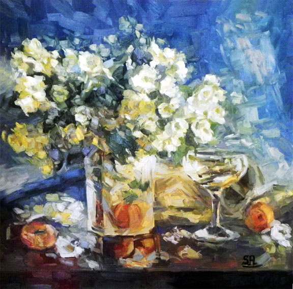 Still life  70x70 oil on canvas,  artist Saeed