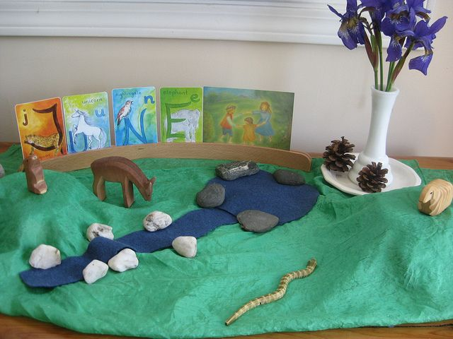 June nature table idea, I love the painted alphabet cards and how they are used