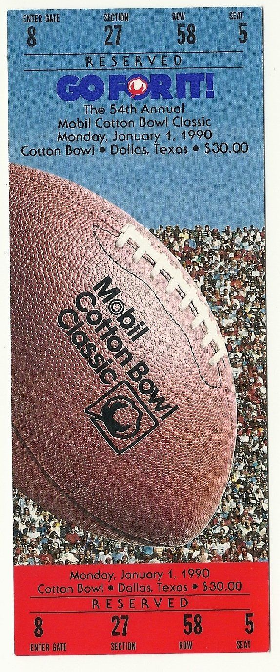 1990 Cotton Bowl Game Full Ticket Tennessee Arkansas....if you like this you can find many more college bowl game tickets for sale at www.everythingcollectibles.biz