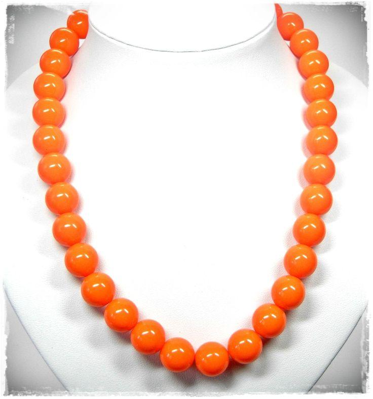 NEU 41,5cm+5,5cm HALSKETTE 14mm PERLEN in orange PERLENKETTE | eBay