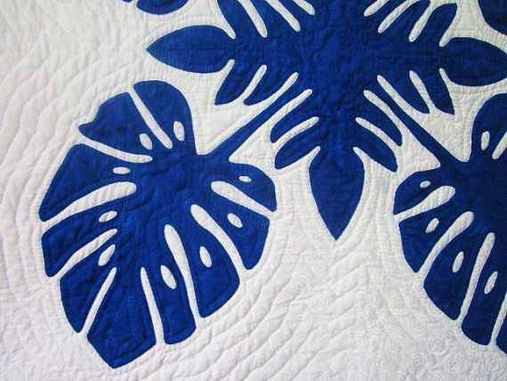 Hawaiian Quilt Blue and White Traditional Applique by NHQuiltArts