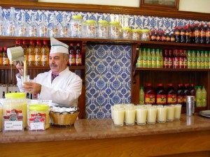 boza is made from fermented millet. Only drunk in the winter, its mild, tangy, yoghurty flavour is supposed to give you the strength to get through the cold weather. And the only place to drink boza in Istanbul is in the beautiful old Vefa Bozacısı, on Çelebi Caddesi. It's quite a ritual to have your boza there...drop a few of your roast chickpeas on top, and dig in. It's a surprisingly light and refreshing pick-me-up, made all the more special by the surroundings, of course.