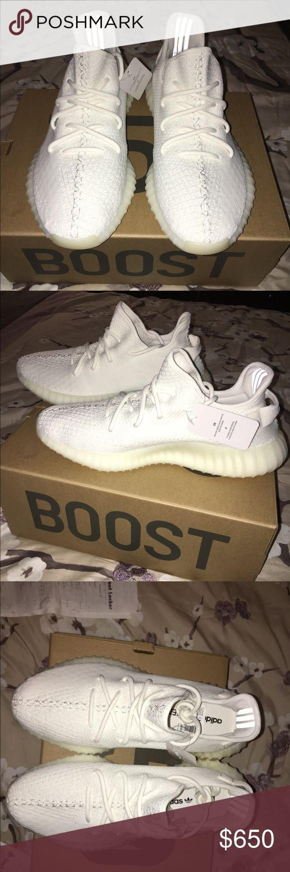 Men's white Yeezys by Kanye west Authentic Yeezys by Kanye west men's never worn brand new in box with proof of purchase from footlocker in NYC, all sold out every where. Please no low ball offers Yeezy Shoes Sneakers