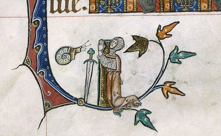 fA few isolated cases of Knights engaging in combat with snails from 13th Century English and French manuscripts.