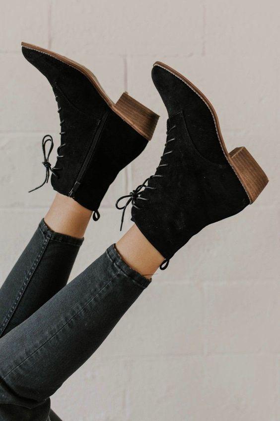 Bottes à lacets fantastiques en noir #blackshoesforwomen – #blackshoesforwomen …