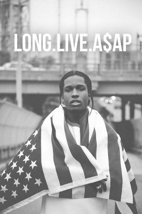 This photo uses a few elements of design that I notice. The use of black and white not only gives it a certain feel of age, but contrast is also very evident in black and white photos. There's also use of symmetry since A$AP Rocky is placed directly in the middle with American flag swung over his shoulders in even fashion.