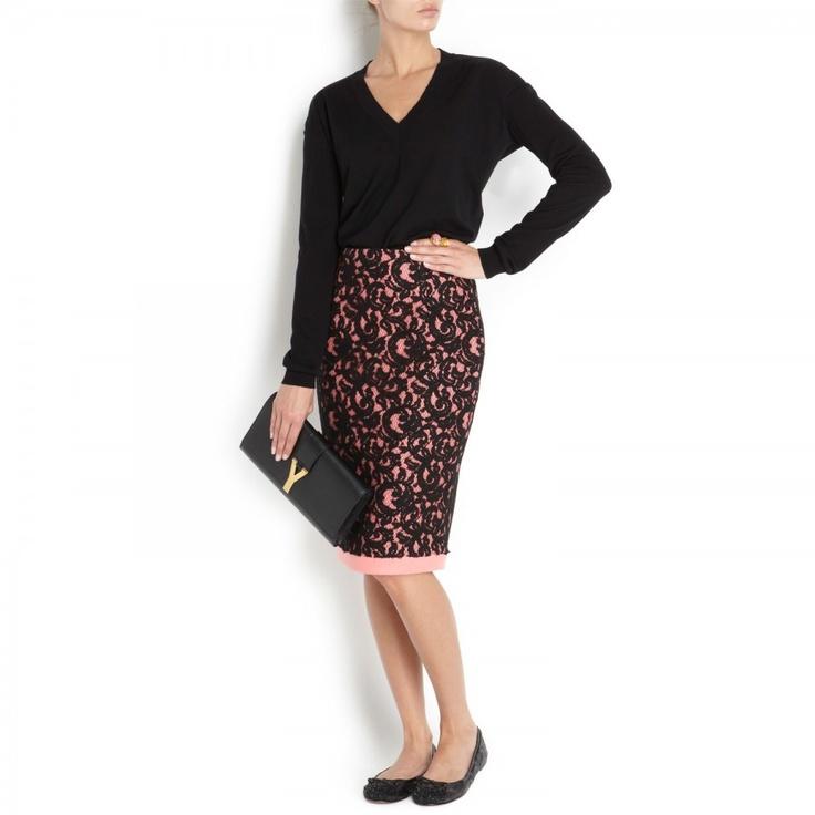Lace and felt pencil skirt, Knee length, Harvey Nichols Store View