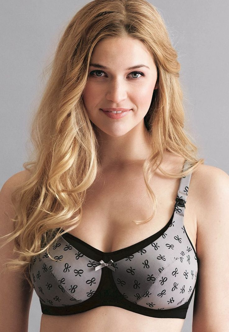 Biustonosz do karmienia bez fiszbin Platinum Black (5026) z usztywnianymi miseczkami, dostępny w Mambra / Moulded non wired nursing bra Platinum Black by Anita, available in Mambra.