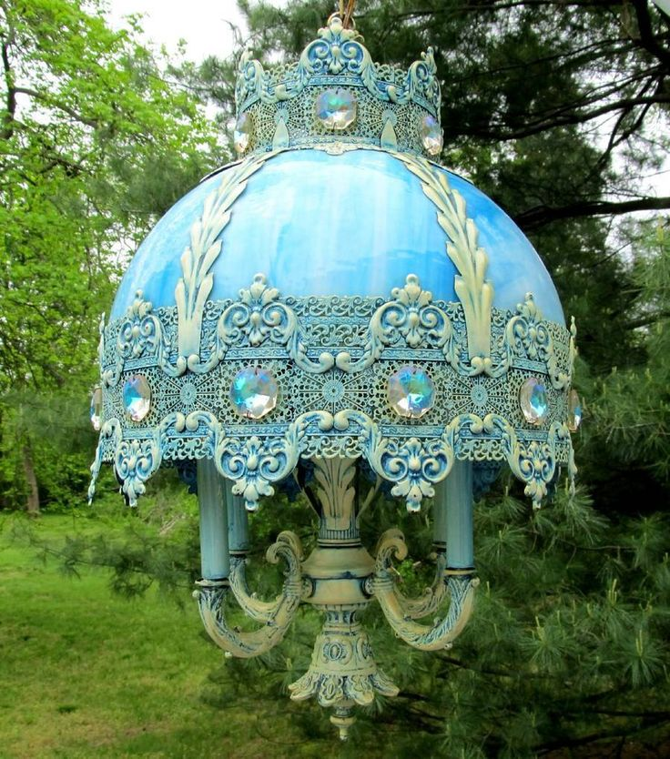 Shabby Vintage Jeweled Crystal Filigree Crown Blue Stained Slag Glass Chandelier | eBay