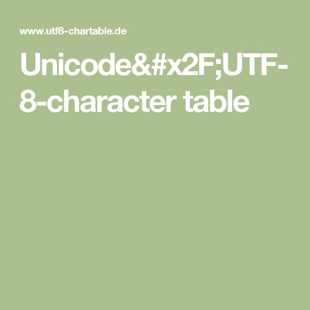 Unicode/UTF-8-character table
