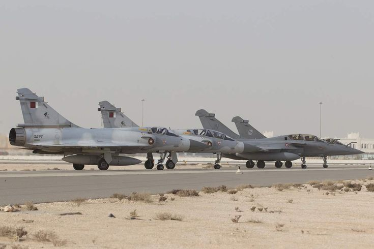 Qatar orders 24 Rafale. Photo: (c) JL Brunet / Air Force - Two French Armée de l'Air Rafale and two Qatar Air Force Mirage 2000-5, the two Rafales from 7th Squadron of the 1st Fighter Wing waiting for take off at Qatari air base in Doha.