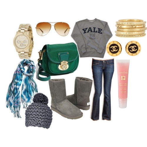 Don't like the gray uggs but everything else is good! Where do you buy a Yale sweatshirt....? Besides Yale. Ha!