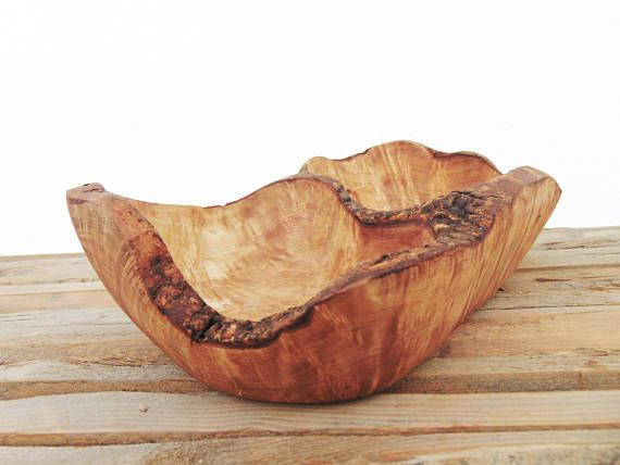 Engraved Wooden Rustic Serving Bowl 10.6 X 6.3 X 3.3 Inch /