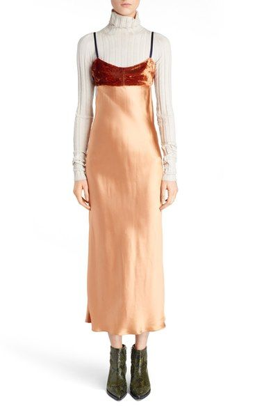 ACNE Studios 'Elina' Velvet & Satin Slipdress available at #Nordstrom