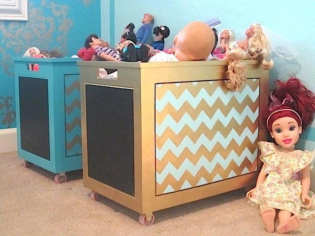 Toy bins receive a fun facelift by Carmen of Carmen Illustrates using our Chevron Furniture Stencil and great colors!