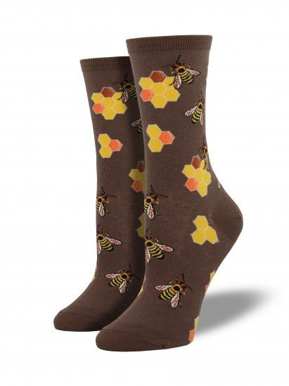 These cute socks are sweet as honey. They are women's socks best intended for women's U.S. shoe sizes 5 - 10.5. Final Sale: This item cannot be returned or exchanged. - 63% Cotton, 34% Nylon, 3% Spand