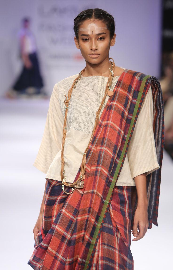 Autumn Plaid linen Sari