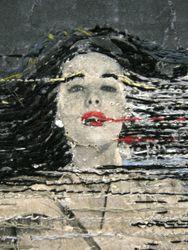 hinke schreuders paper 20 2011 garen en inkt op papier op doek 25 5 x 17 x 5 5 cm   www.sudsandsoda.com