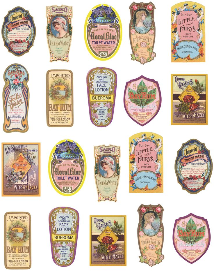 ✄ Decoupage Paper Collage Sheet Perfume Labels. I printed these out and except…