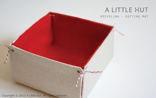 """How-To: Upcycled Storage Bin from a 12"""" square Cricut machine cutting mat    Read more: http://alittlehut.blogspot.com/#ixzz1ss6hMYWV   Under Creative Commons License: Attribution Non-Commercial"""