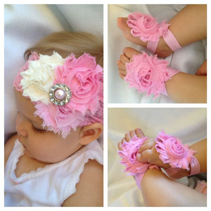 Pink+Headband+&+barefoot+sandal+gift+set++by+SummerJadeBoutique,+$13.95