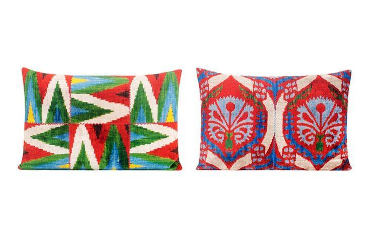 Yastik by Rifat Ozbek's Modern Ottoman pillows; $510 (left) and $612 (right). yastikbyrifatozbek.com