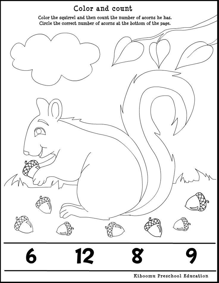 Kindergarten Math Worksheet and Fall Song