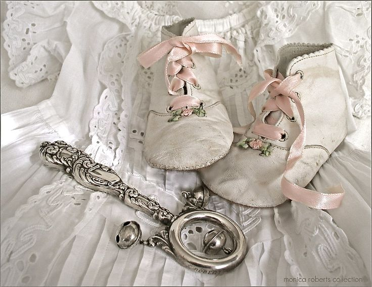 antique baby shoes and rattle - so adorable