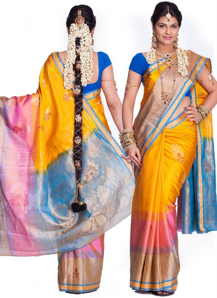 PELLI PATTU CHEERALU - The vibrant and contrasting colours makes it an exquisite saree. It consists of traditional designs including stripes, checks, floral buttas, and temple designs. The body and the border of the saree are woven individually. It is then attached together in a distinctive Kanchipuram style. These sarees are durable and admired for their shiny look.