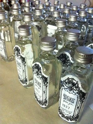 Favors? I found free printables on here,and made my artsy friend help me cut and mod podge them to tiny bottles of gin I purchased at Bev Mo for about a dollar each.