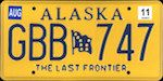 Official Alaska state license plate.