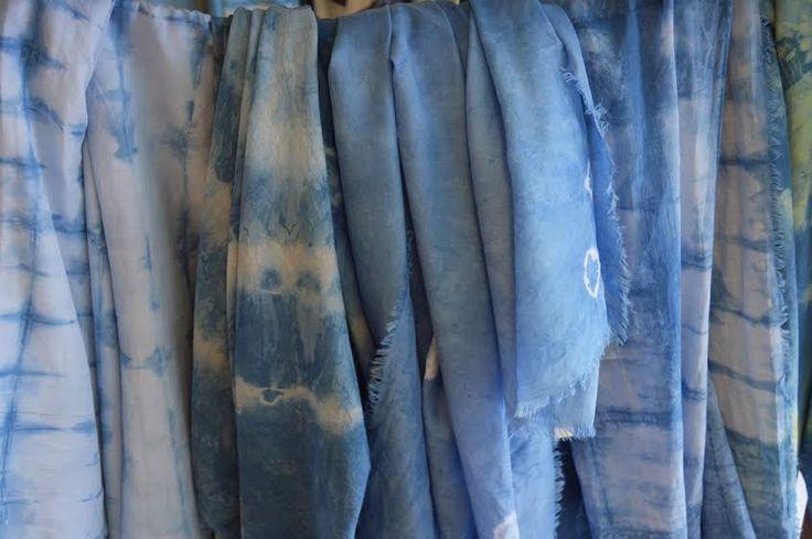 Foulards azul indigo handmade