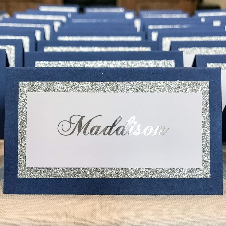 My Silver glitter paper will not shed which is backed on to a Royal Blue tent card 99x105 (other paper colour options available). x10 Personalised tent place cards. My tent cards are pre scored which makes it extremely easy to fold.   eBay!