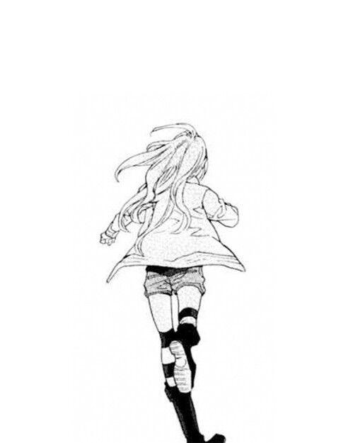 Anime Characters Running : Image via we heart it blackandwhite mangagirl run