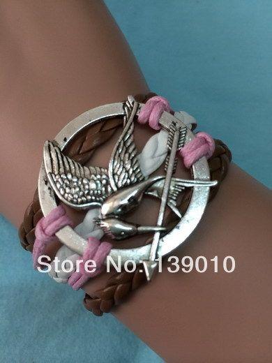 Старинное серебро аксессуары манжеты шарм браслеты браслеты коричневый белый розовая кожа веревка плетеный голодные игры птица женщины мужчины ювелирные изделия