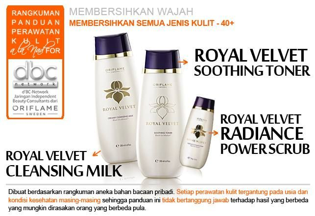 Royal Velvet Soothing Toner | Royal Velvet Cleansing Milk | Royal Velvet Radiance Power Scrub | #pembersih #wajah #semuajenis #kulit #40+ #tipsdBCN #Oriflame