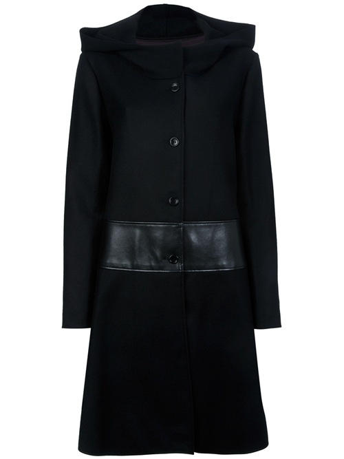 Black wool blend coat from Hache featuring a structured funnel neck, a button front fastening, contrast faux leather waistband and long sleeves.