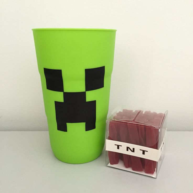 Creeper Cup, made using a tumbler from Big W with chalkboard stickers cut from a creeper template. A small gift box with red licorice for a TNT box.
