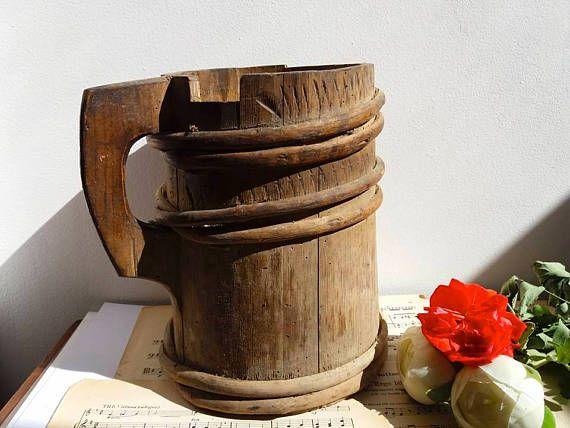 Old primitive wood water jug / carafe / pot / Flower vase /
