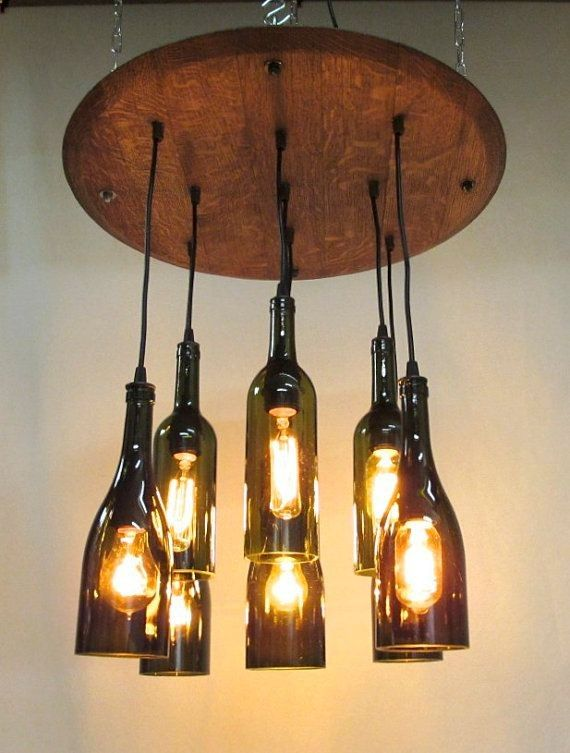 9 light wine bottle barrel top chandelier ceiling fixture repurposed restaurant bar dining room - Wine bottle pendant light ...