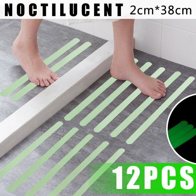 12pcs Noctilucent Anti Skid Waterproof Bathroom Bath Tub Treads Stickers Non Slip Tape Fluorescence Luminous Decals Safety Mat R Bathroom Bath Bath Acrylic Tub
