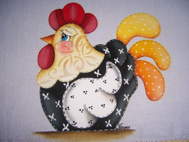 galinhas pintura em tecido - Pesquisa Google
