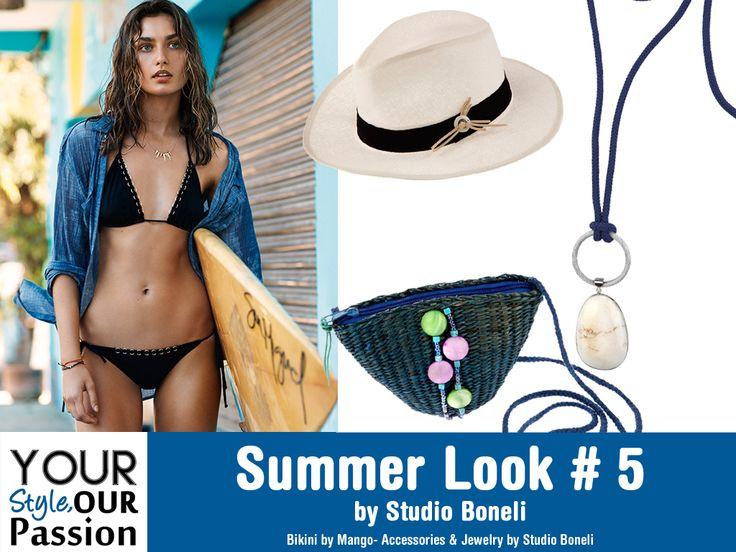 "Summer Look #5 by Studio Boneli! ""The Surfer"" Ατημέλητο - sport look στην παραλία για άκρως νεανική και ανέμελη εμφάνιση! Basics Bikini με έξυπνα συνδυασμένα αξεσουάρ, για all day beach party διάθεση! #YSOP #Summertime #Fashion #Style"