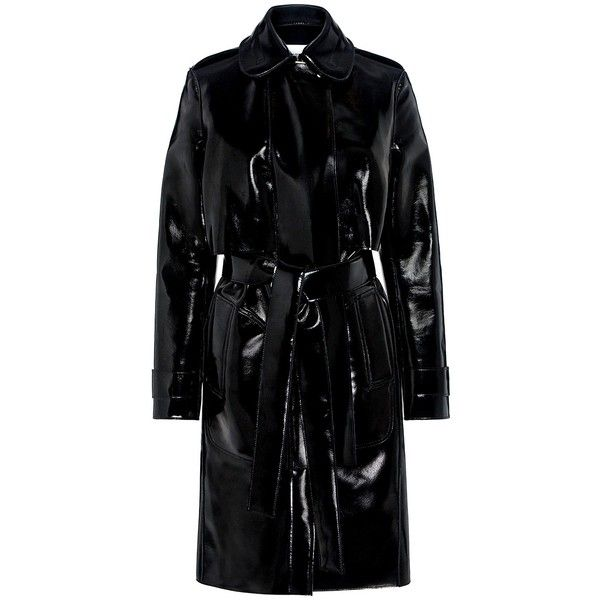 Carven - Patent Trench Coat (£715) ❤ liked on Polyvore featuring outerwear, coats, jackets, patent leather coat, trench coat, carven coat and patent leather trench coat